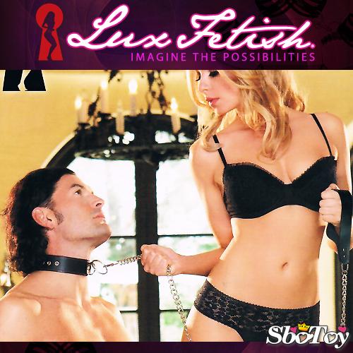 美國Lux Fetish-SM皮革不銹鋼鍊頸環
