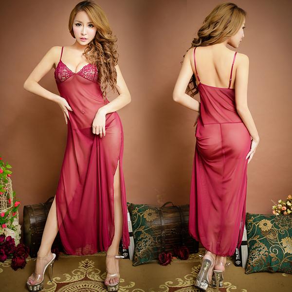 :柔情優雅.雪-紗高貴長裙式蕾絲簍空情趣睡衣 (紅)