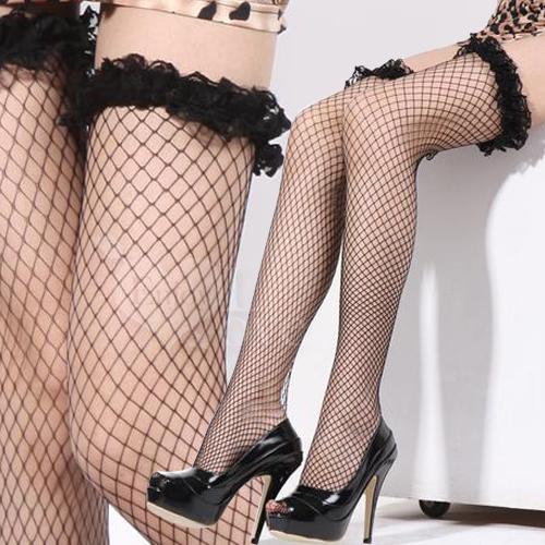 :美腳誘惑.立體蕾絲花邊網襪(優雅黑)