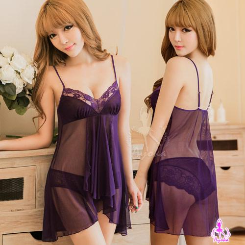 :性感睡衣 魅紫薄紗透視二件式睡衣