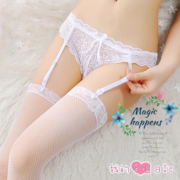 清純可人-純愛蕾絲吊襪帶+大腿蕾絲絲襪(白)