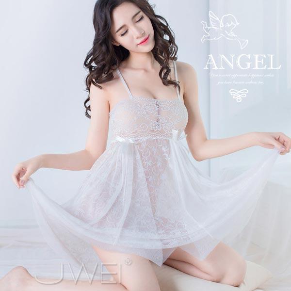 天使降臨.輕透網紗蕾絲睡衣